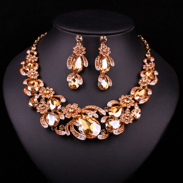 New Bridal Jewelry Sets Wedding Necklace Earring For Brides Party Accessories Gold Plated Crystal Flowers Decoration Gift Women