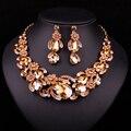 Nuevos Sistemas de La Joyería Nupcial de La Boda Accesorios de Cristal Plateado del Oro Collar Pendiente Para la Fiesta de Las Novias Flores Regalo de La Decoración de Las Mujeres