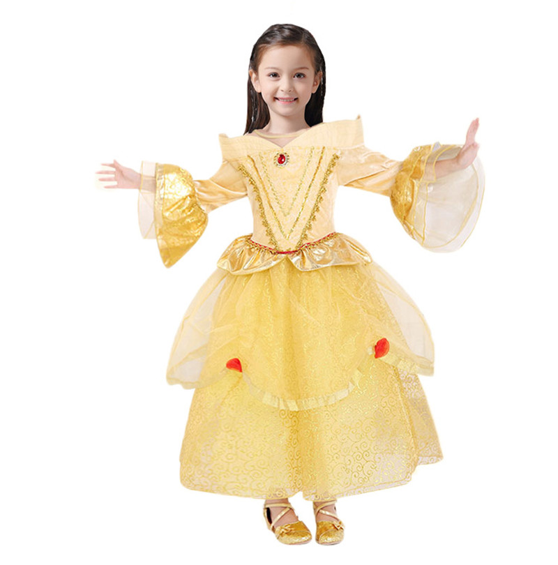 Frozen Yellow Children Belle Princess Anna Dress Bead Bowknot Cosplay Dresses Kids Costume Girls Clothes For Birthday Party