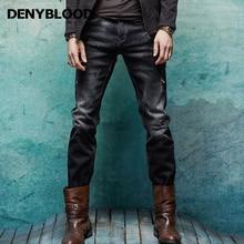 Denyblood Jeans Spring Winter Mens Denim Jeans Bleached Black Stretch Denim Slim Straight Distressed Jeans Ripped Pants 158041