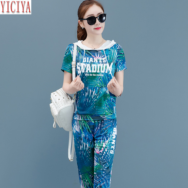 2019 Summer Two Piece Outfits Tracksuits for Women Plus Size Big Hooded Top and Pants Suits Co ord Set Sportswear Print Clothing in Women 39 s Sets from Women 39 s Clothing
