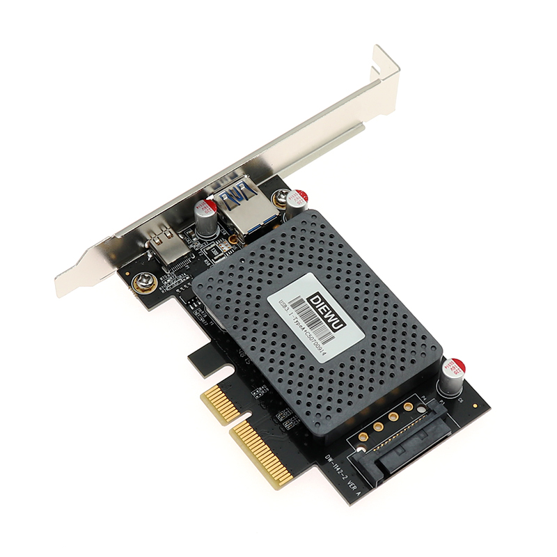 USB3.1 Type A + C PCI E Expansion Card With 15 Pin SATA Power 10Gbps Adapter  ASM1142 Chip Pcie Pci Express Usb 3.1 Network Card