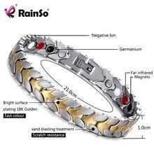 RainSo יוניסקס הולוגרמה צמידי להקל על עייפות גרמניום מגנטי צמידים & צמידי פלדת צמיד תכשיטי עבור דלקת פרקים