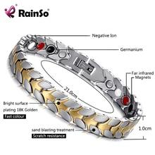 Rainso unisex holograma pulseiras aliviar fadiga germânio magnético pulseiras & pulseiras pulseira de aço jóias para artrite