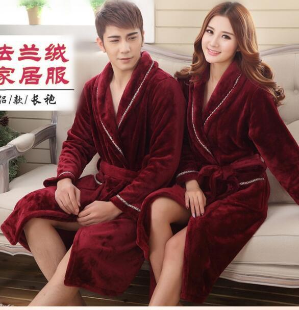 Men's bathrobe Winter couple gown Coral velvet long pajamas Mens sexy sleepwear