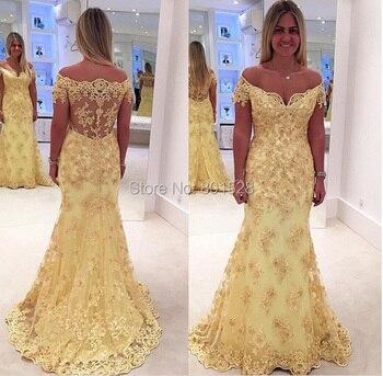 G615 Boat Neck Yellow Mermaid Prom Dresses 2018 Appliques Long Lady Dress Sheer Back Sweep Train vestido de festa Evening Party