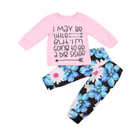 2pcs Toddler Kids Baby Boys Girls Outfits Long Sleeve T-shirt Tops+Floral Pants Autumn Clothes Set Outfit