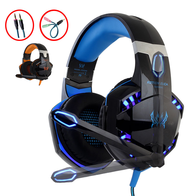 KOTION EACH G2000 PC stereo gaming headset for computer headphones with microphone LED light Game gamer Earphone 3.5mm AUX Slot original kotion each g2000 gaming headset deep bass computer game headphones with microphone led light for computer pc gamer
