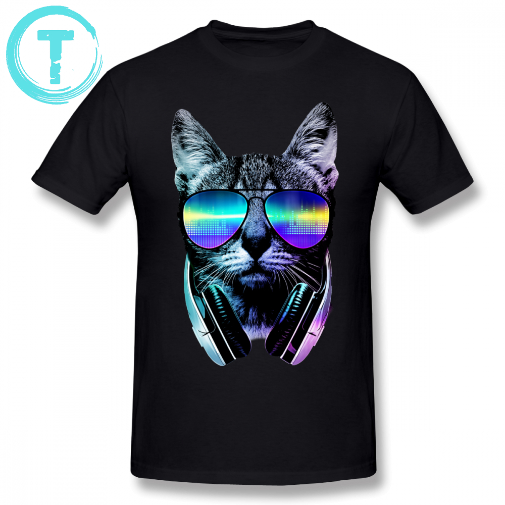 Equalizer T Shirt Music Lover Cat T-Shirt Male Awesome Tee Shirt Graphic Short Sleeve 100 Cotton Fashion Plus Size  Tshirt