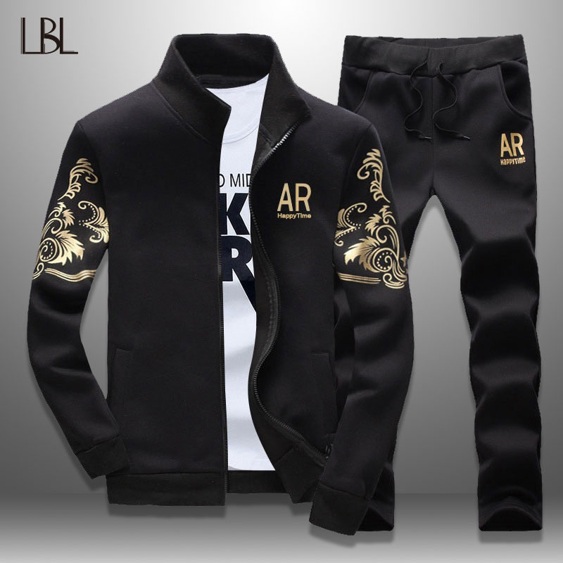 LBL Men Tracksuit Set 2019 Spring Mens Sweat Suits Stand Collar Jacket Two Piece Set Man Slim Fit Fitness Clothing Men Sweatsuit