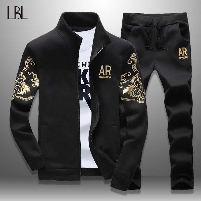 LBL Set de traje para hombres 2019 primavera trajes de sudor para hombres chaqueta de cuello de pie conjunto de dos piezas para Hombre Ropa de Fitness ajustada para hombres