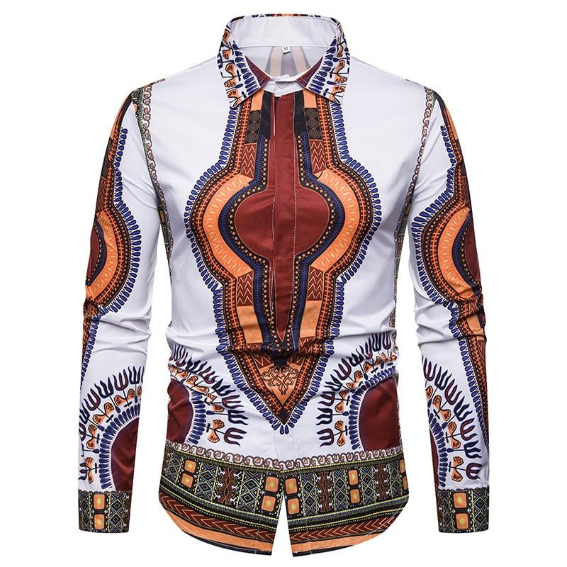 White African Dashiki Shirt Men 2018 Brand New Casual Mens Dress Shirts Slim Fit Long Sleeve Shirt Male Camisa Social Masculina