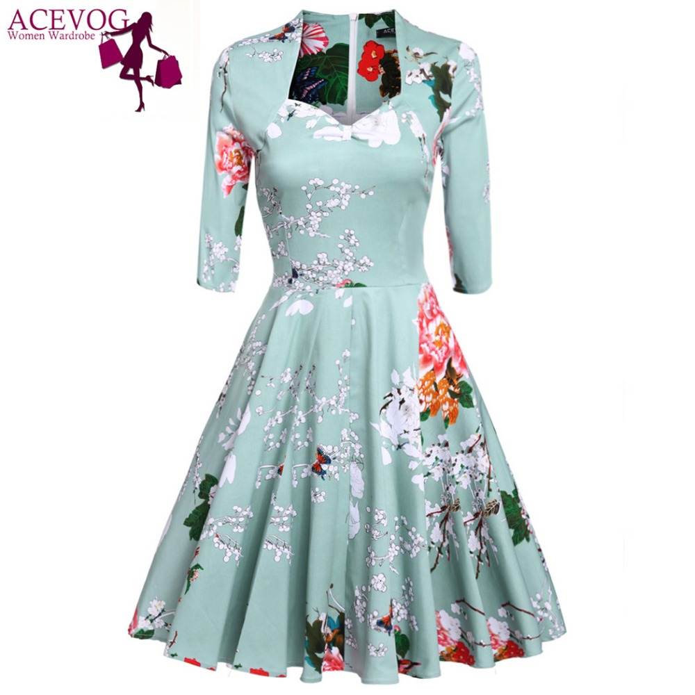 ACEVOG 2017 Vestidos 1950\'s Vintage Style Women Elegant Cap Sleeve ...