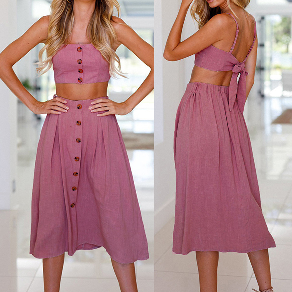 Top mujer verano 2018 Women skirt sets conjuntos verano mujer Bowknot Lace Up Buttons Tops Skirt Set ensemble jupe et conjuntos