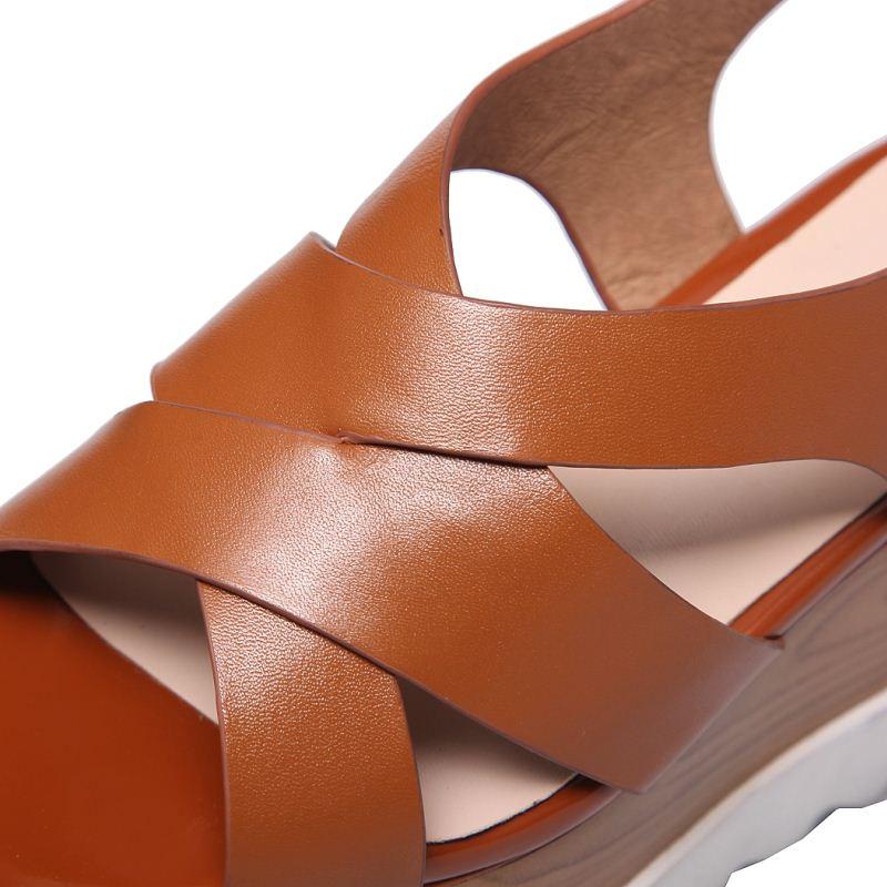 Tacón Zapatos Diario Abierto Genuino Hebilla Pie La Cuero Calzado Coolcept Del Alto 42 Verano De Para Negro Manera Tamaño Mujeres Dedo marrón Las Sandalias 32 Ywx7Ot