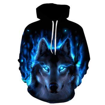 Galaxy Sweatshirts Männer/Frauen 3d Hoodies Mit Hut Druck Blau Feuer Wolf Mit Kapuze Hoodies Dünne Trainingsanzüge Tops Plus Größe 6XL