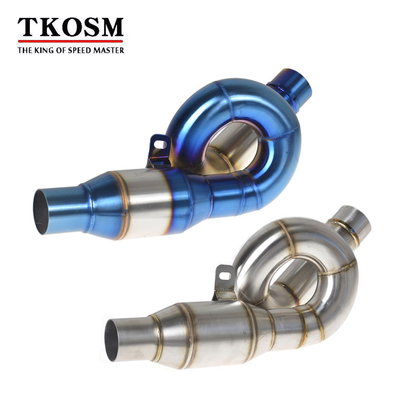 TKOSM Motorcycle Z800 Exhaust Muffler Middle Pipe Motorbike Muffler Exhaust Slip On Escape for Kawasaki Z800 2013-2016