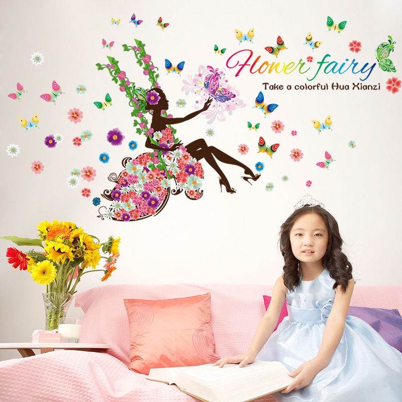 HTB1FsYLPFXXXXcuXVXXq6xXFXXXm - Charming Romantic Fairy Girl Wall Sticker For Kids Rooms Flower butterfly LOVE heart