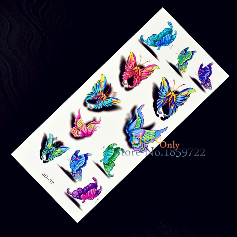 1 sheet beautiful 3d butterfly coloful design waterproof temporary tattoo stickers kids enfants. Black Bedroom Furniture Sets. Home Design Ideas