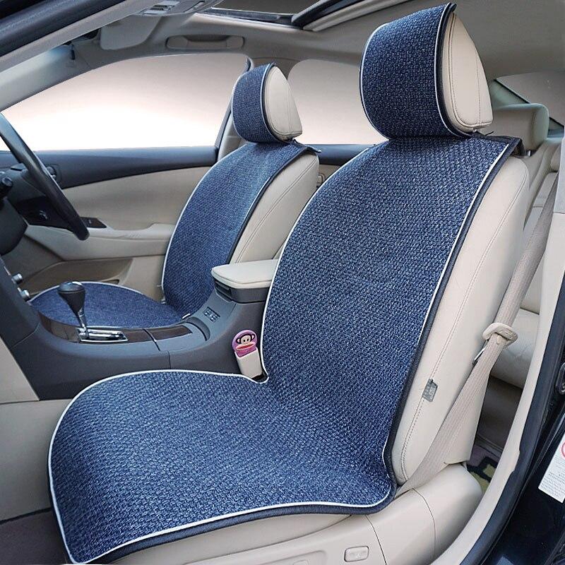 2 piezas de coche asiento de lino telas cubiertas de asiento de coche Universal cojín del asiento de coche accesorios para decorar protección cubre para coche asiento