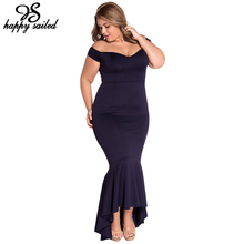 Happy Sailed 2 colors S M L XL elegant sexy Women formal gown vestidos Off-shoulder V neck Mermaid Jersey maxi long Dress 60171