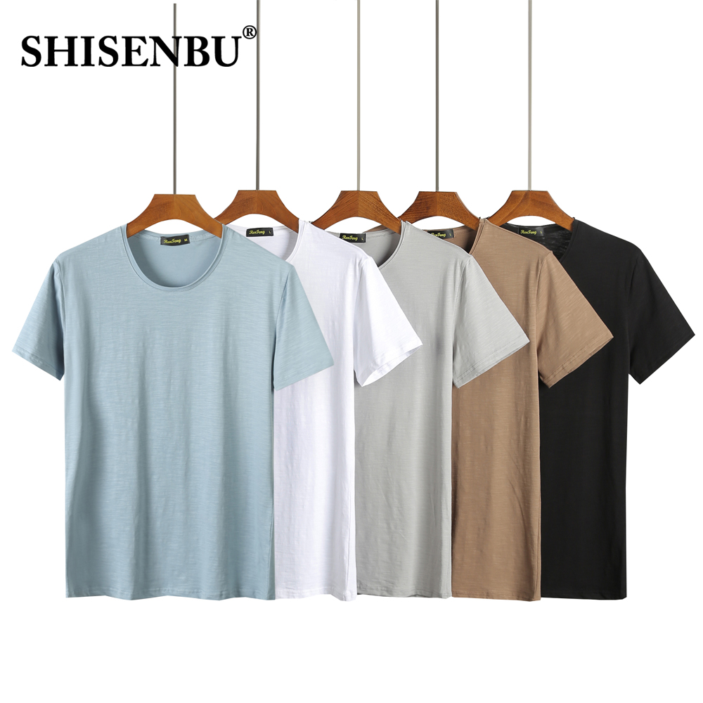 quality bamboo Cotton t shirt men summer solid color tshirt man crew neck short sleeve blue white black casual basic streetswear