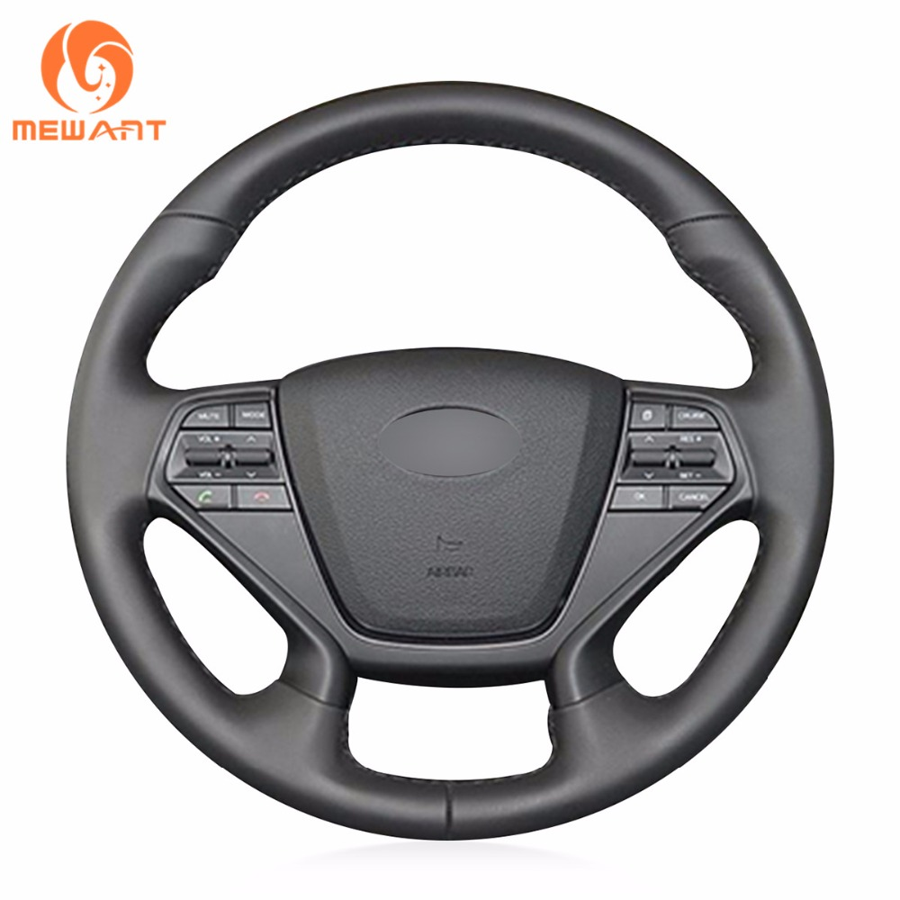 MEWANT Black Genuine Leather Car Steering Wheel Cover for Hyundai Sonata 9 2015 2016(4-Spoke) car wind 38 cm genuine leather car steering wheel cover black steering wheel cover for bmw vw gol polo hyundai car accessories