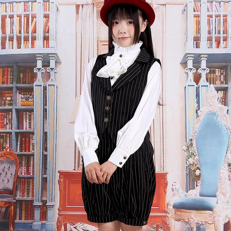 e613c78b356d Preppy Girls Gay Lolita Striped Vest Waistcoat Jumper Hosen Short ...