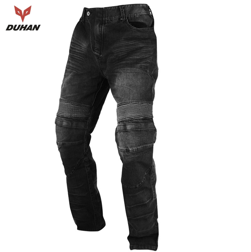ФОТО DUHAN Protective Men's Motorcycle Racing Pants Motorbike Outdoor Jeans Casual Pants Motocross Off-Road Trousers with Protectors