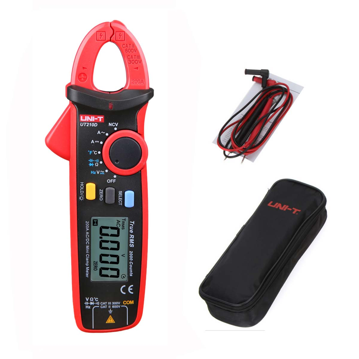 M128 Digital Clamp Meter Multimeter UNI-T UT210D AC/DC Current Voltage Resistance CapacitanceTemperature Measurement Auto Range uni t ut205 ture rms auto manual range digital handheld clamp meter multimeter ac dc voltage aca test tool