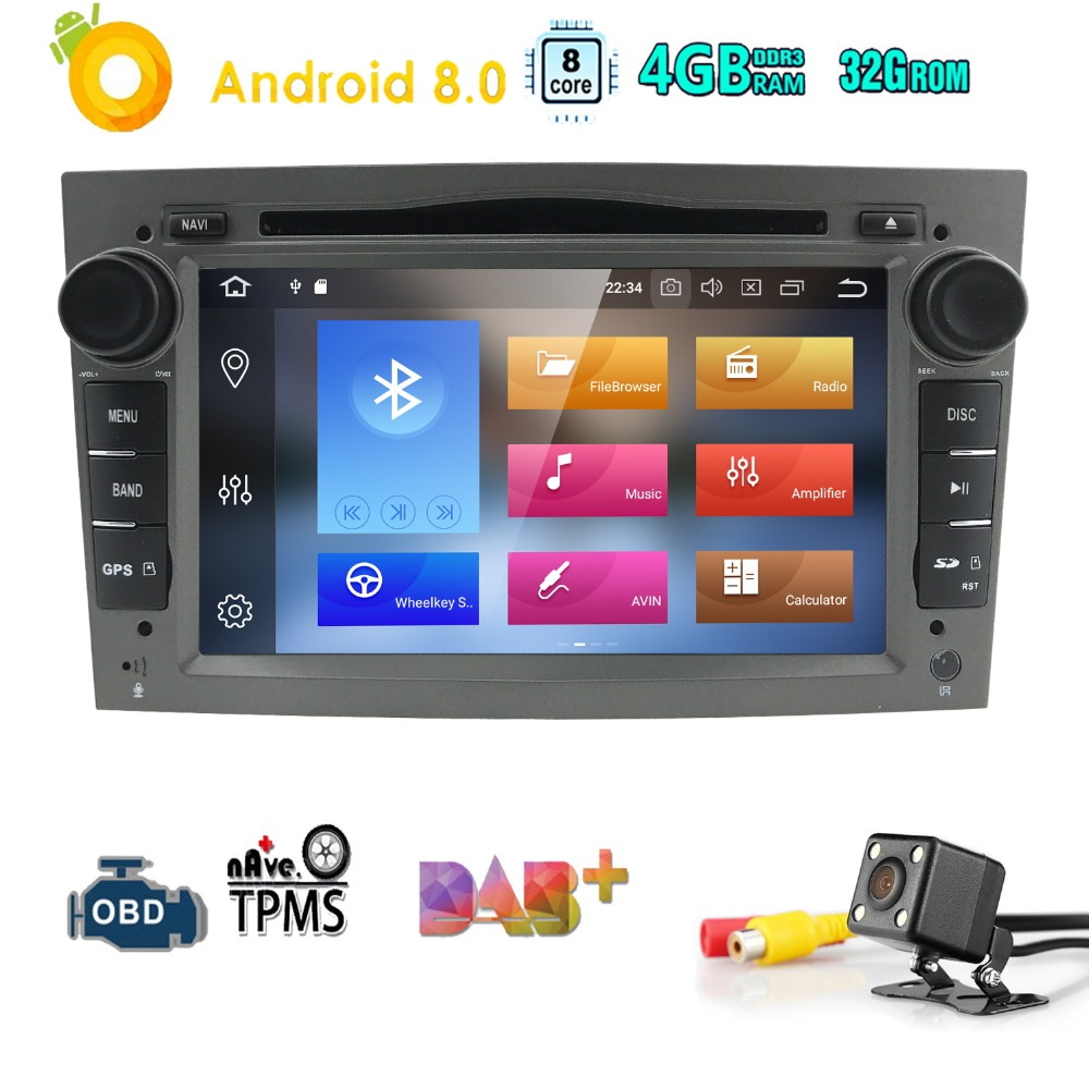 Hizpo Octa Core 2 DIN RAM:4GB Android 8.0 Car DVD Player For Opel Astra H Vectra Corsa Zafira B C G car GPS Radio stereo 4GWIFI