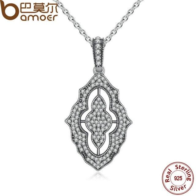 BAMOER Аутентичные Стерлингового Серебра 925 Игристые Кружева Ожерелье, ясно CZ Кулон Ожерелье для Женщин Fine Jewelry PSN001