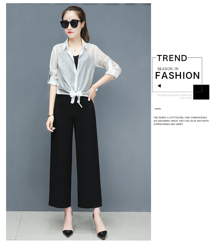 2019 Spring summer women sets office lady elegant chiffon blouse shirts+female wide leg pants trousers pantalon two piece sets 17