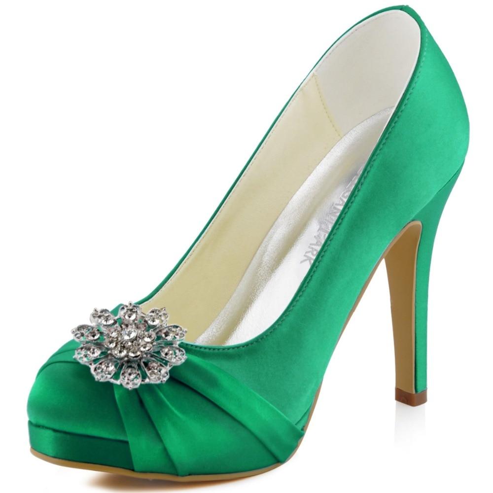 ФОТО EP2015-PF Mint Green Women Bride Bridesmaids High Heel Platfrom Pumps Rhinestones Satin Lady Wedding Bridal Evening Party Shoes