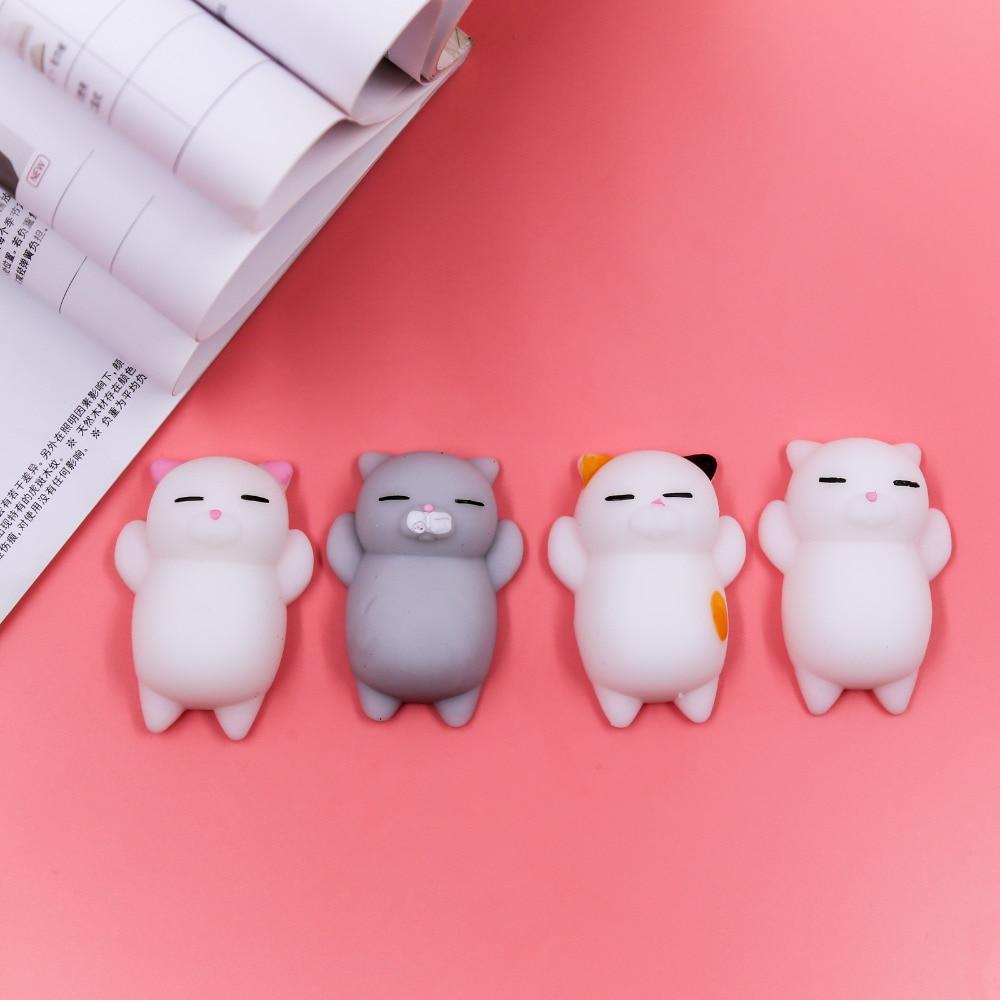 Kawaii Squishy Cute Cats 4pcs/lot Phone Strap Decompression Hand Squeeze Pinch Toy Mini Soft Cat ...