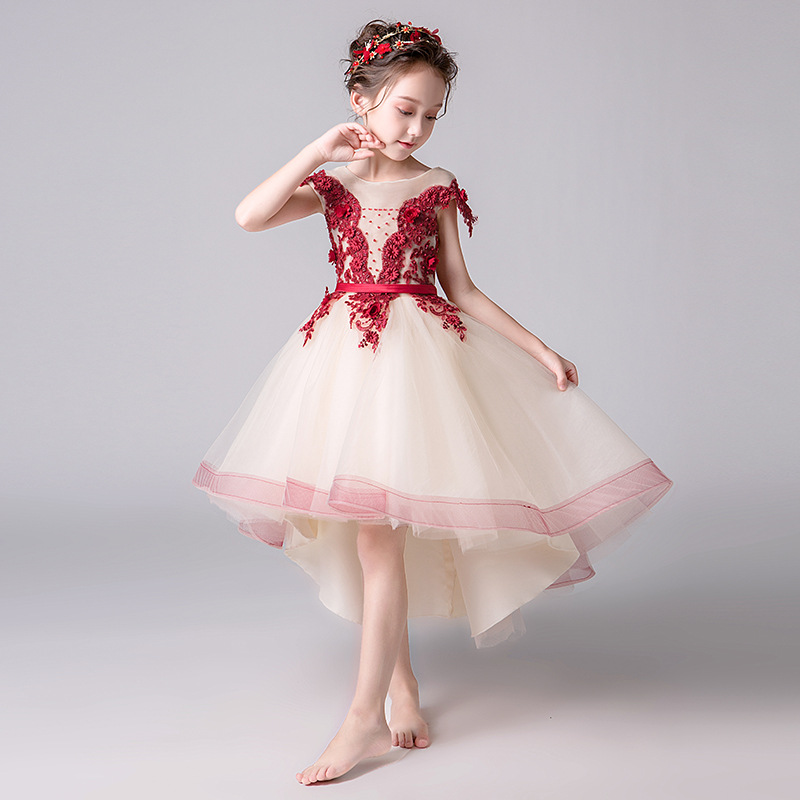Grace   Flower     Girl     Dresses   Tulle 2019 Beading Appliqued Pageant   Dresses   For   Girls   Party party beauty pageant performance   dress