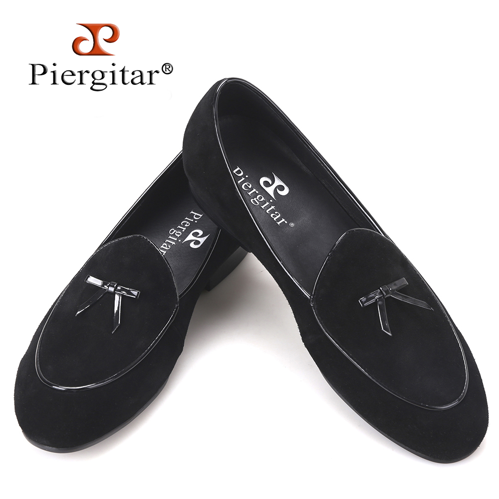 Piergitar 2017 new Black and Brown Cow suede men handmade loafers Fashion Prom and wedding men