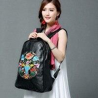 Новый специальный кожаный Для женщин Винтаж этнический рюкзак в национальном стиле ретро Вышивка путешествия Рюкзаки цветок кампус Обувь