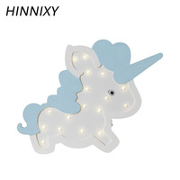 Hinnixy Lovely Night Light Unicorn Shape LED Table Lamp Pink Blue Bedroom Decor Nordic Style Home Lighting Girl Romantic Gifts