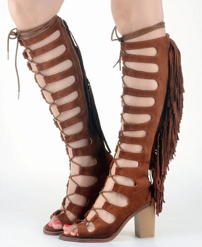 все цены на Fashion Fringe Lace Up Gladiator Sandals Women Summer Cutouts Knee High Boots Suede Leather Thick High Heels Dress Shoes Woman в интернете
