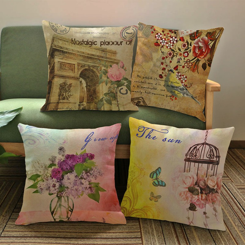 Nostalgic Flower France Arch Of Triumph Retro Style Seat Pillows Impressive French Pillows Home Decor