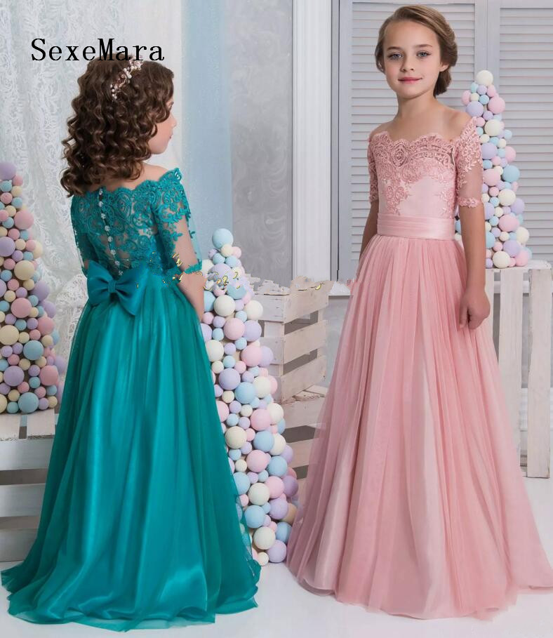 2018 Arabic Flower Girl Dresses Short Sleeves Lace A-line Child Wedding Party Dress Little Girl Pageant Dresses strapless a line short party cocktail dress