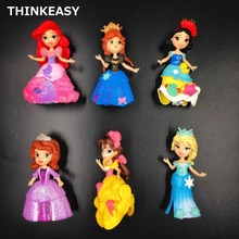 6 pcs/set Kids my cute little Anna and Elsa Toy Action dolls poni for children toys vinyl doll CHRISTMAS GIFT FOR GIRL стоимость