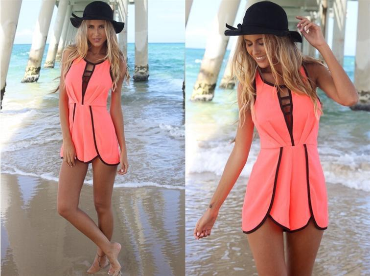 c651e5c54ec7 Summer Rompers Womens Jumpsuit Plus Size Jumpsuit Women Playsuit Casual  Short Bodysuit Sexy Hollow Out Jumpsuits Ladies Overalls-in Rompers from  Women s ...
