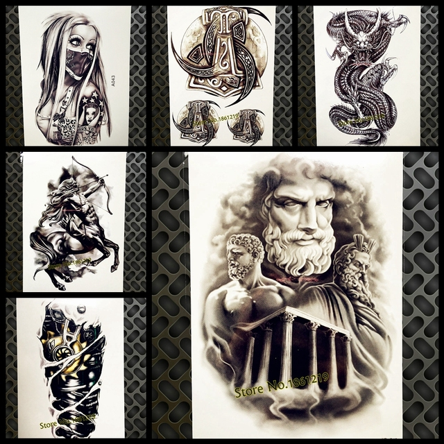 Cool Greek Mythology Power Man God Temporary Tattoo Men Body Art Arm Fake Flash Waterproof Tattoo Stickers Women Tatoo Paste