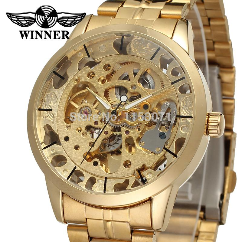 WRG8003M4G1 Winner business new Automatic men skeleton gold dress watch factory company stainless steel bracelet shipping free mens gold skeleton watch