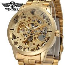 זוכה מותג העליון שעון של גברים שלד אוטומטי יוקרה זהב החברה במפעל צמיד נירוסטה שעוני יד WRG8003M4G1