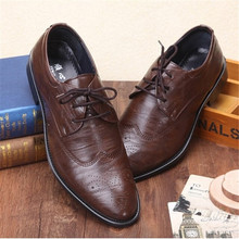 classical men's dress wedding flat shoes luxury man business office oxfords casual shoes black / brown leather derby shoes