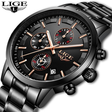 LIGE Mens Watches Top Brand Luxury Fashion Business Watch Men Sport Waterproof Clock Quartz Wristwatches Relogio Masculino+Box lige watch men sport quartz wristwatches leather mens watches top brand luxury waterproof business watch man relogio masculino