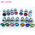 7 * 2.5cm Metal Mini Anal Sex Toys for Women & Men Stainless Steel Anal Butt Plugs + Crystal Jewelry Booty Beads Sex Products